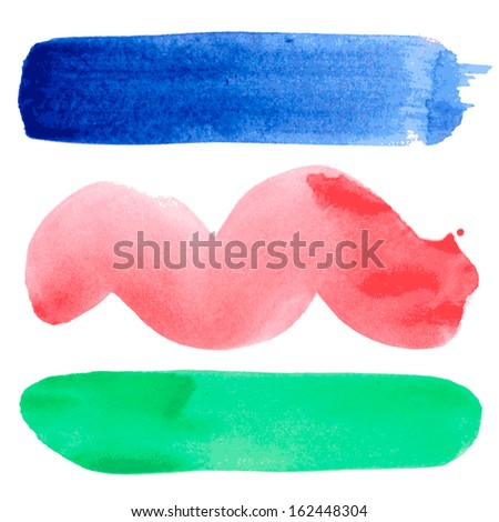 Set of watercolor hand drawn paint stains. Vector illustration. - stock vector
