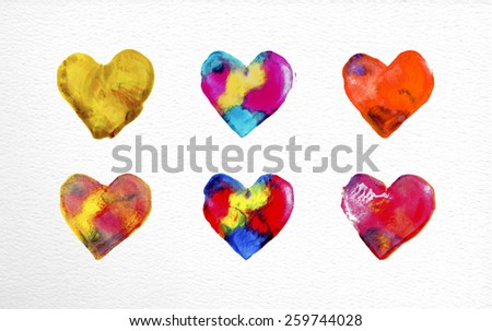 Set of watercolor heart love elements hand drawn illustration. EPS10 vector file organized in layers for easy editing. - stock vector