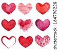 Set of watercolor hearts. Vector illustration - stock
