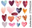 Set of watercolor hearts. Vector illustration - stock vector