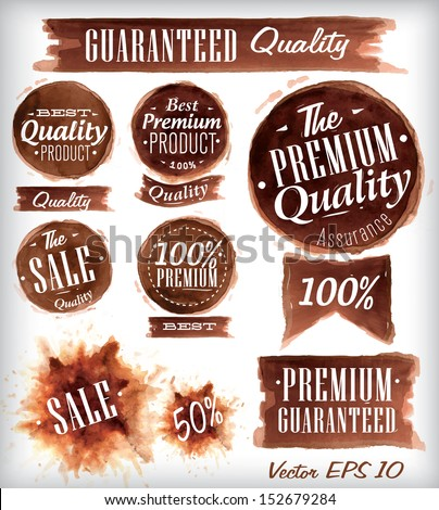 Set of watercolor Old Premium Quality Badges collection stylized watercolor brush strokes of brown vector 10 - stock vector