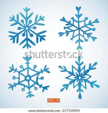 Set of watercolor snowflakes. EPS 10. No transparency. Gradient. - stock vector