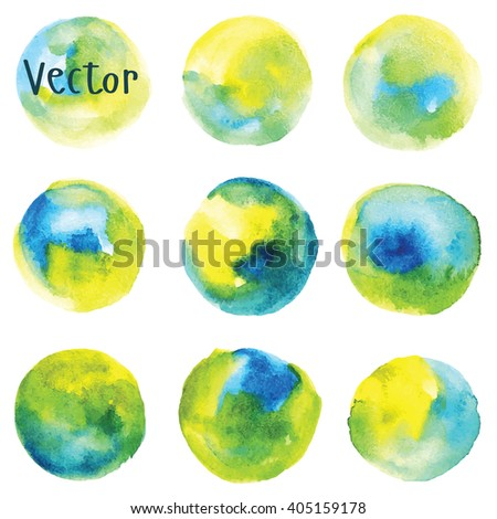 Set of watercolor stain. Spots on a white background. Round. Blue, yellow, green. Vector. - stock vector