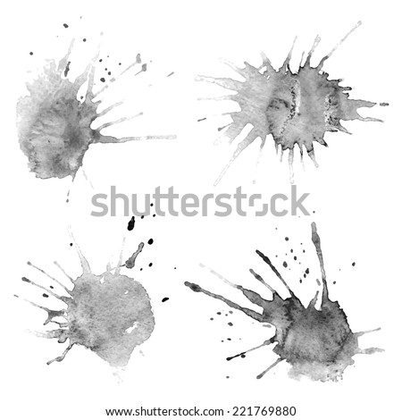 Set of watercolor stains on white background, abstract blots isolated. Bright colors, divorces. Vector - stock vector