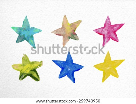 Set of watercolor stars elements hand drawn illustration. EPS10 vector file organized in layers for easy editing. - stock vector
