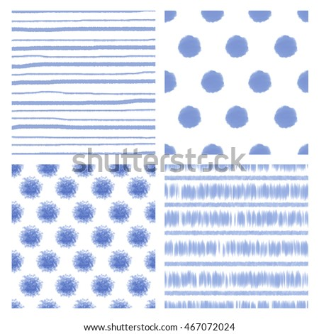 Set of watercolor stripe and circle patterns on white background vector illustration