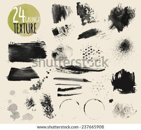 Set of watercolor textures. Vector. - stock vector
