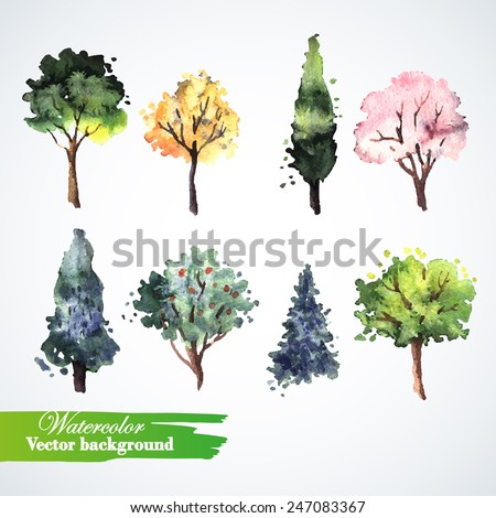 Delightful Display Christmas Cards #1: Stock-vector-set-of-watercolor-trees-hand-painting-watercolor-illustration-for-greeting-cards-invitations-247083367.jpg