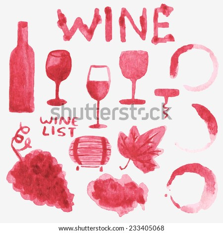 Set of watercolor wine stuff on the white background, aquarelle.  Vector illustration. Hand-drawn background. Bottle, glasses, corkscrew, leaf, grape bunch, stains, cask. menu, scrapbooking, design. - stock vector