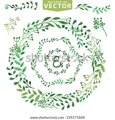 Set of watercolor wreaths,green branches,leaves and laurels.Hand painted petal decor elements.For design template,invitation.Watercolor Hand sketched brushes. Nature,organic items.Vector.Easy to edit - stock vector
