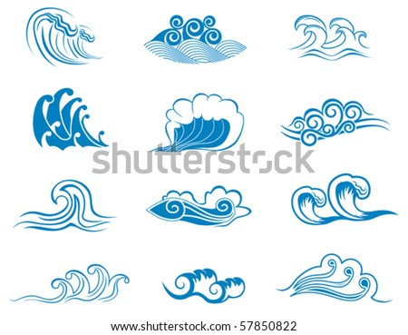 Set  of wave symbols - also as emblem or logo template. Jpeg version also available in gallery - stock vector