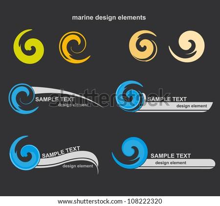 Set of wave symbols for design - stock vector