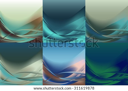 Set of wavy abstract backgrounds banners horizontal of different colors - stock vector