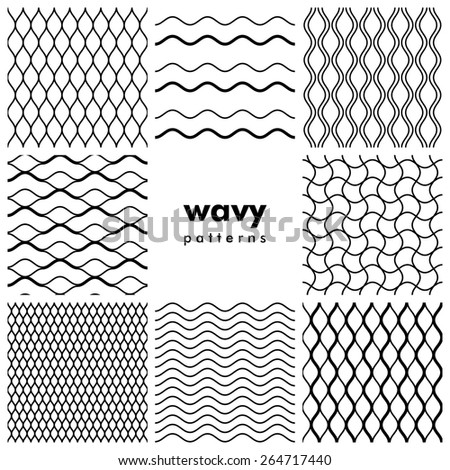 Set of wavy black and white seamless patterns - stock vector