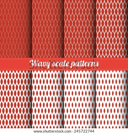 Set of 8 wavy scale patterns with various density vector - stock vector