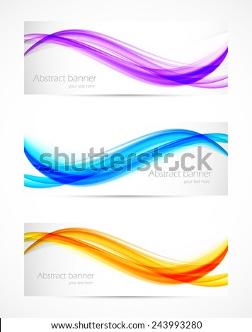 Set of wavy soft  banners. Abstract template design - stock vector