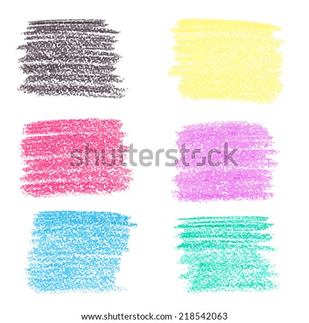 Set of wax crayon spots, isolated on white background