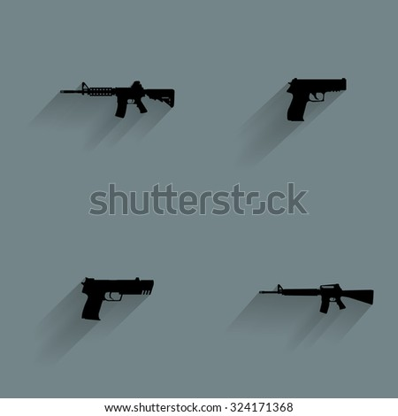 Set of weapon silhouettes on a blue background - stock vector
