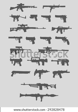 Set of weapons. Silhouette. Isolated. - stock vector