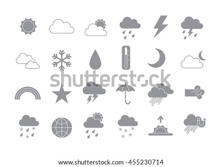 Set of 24 Weather forecast gray vector icons