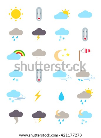 Set of 24 weather forecast vector icons