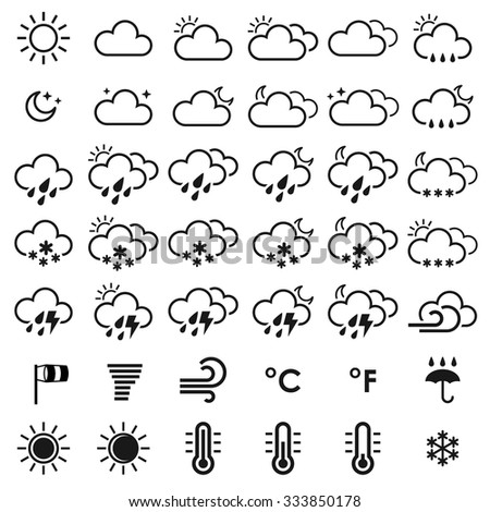 Set of weather icons. Black and white vector illustration for your design solution. Eps 10. Eclipse. . Clear sky. Cloudy weather. Increased cloudiness. Sunshine. Sunlight. Tornado. Blizzard - stock vector