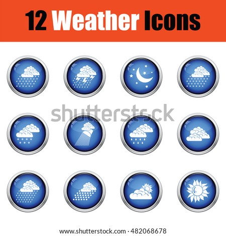 Set of weather icons. Flat design tennis icon set in ui colors. Vector illustration Glossy button design. Vector illustration.