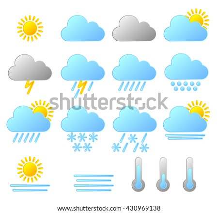Set of weather icons isolated on white background. weather forecast icons vector/illustration