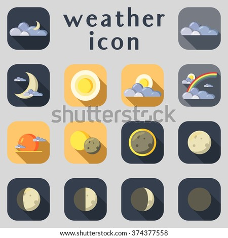 Set of weather icons. Part 1. Vector illustration. - stock vector