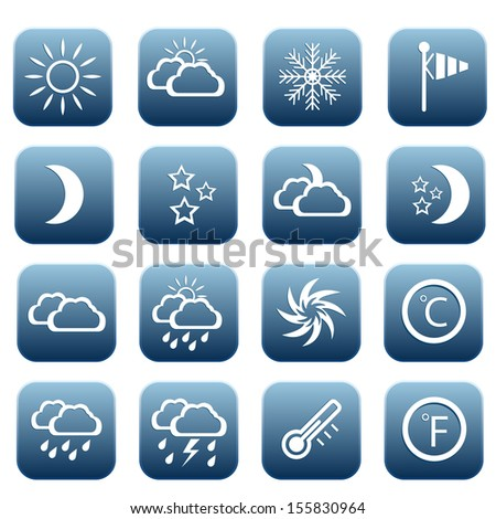 Set of weather icons, vector illustration
