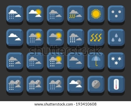set of weather icons, vector illustration - stock vector