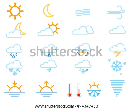 Set of weather icons windy cloud meteorology. Vector symbol snowflake snow storm weather icons thermometer element. Cloudy cold moon and rainy climate weather icons sunny forecast temperature.