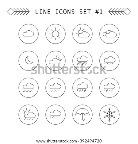 Set of weather line icons - stock vector