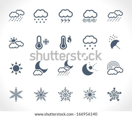 Set of 20 weather related icons - stock vector