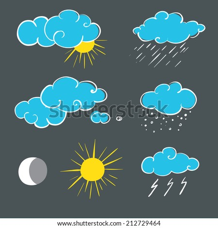 Set of weather symbols sketch. Vector illustration of weather icons