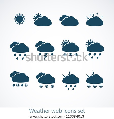Set of Weather web icons. Vector illustration.