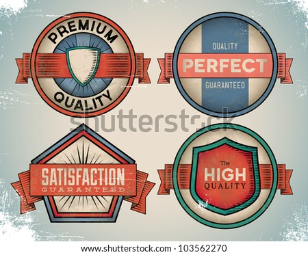 Set of weathered vintage premium quality labels - stock vector