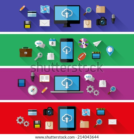 Set of web and business concepts. Flat design. Vector illustration.  - stock vector
