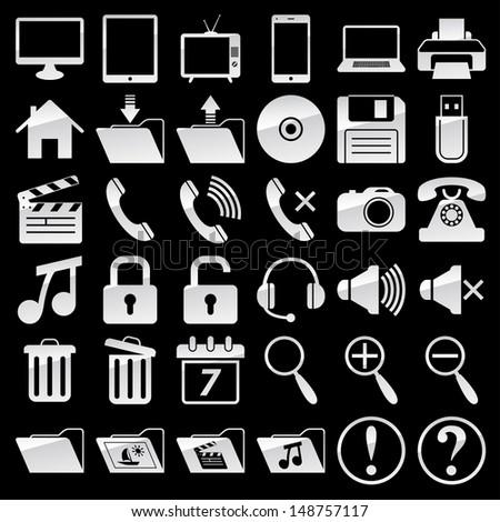 Set of web and media icons