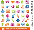Set of 36 web and social media icons. - stock vector
