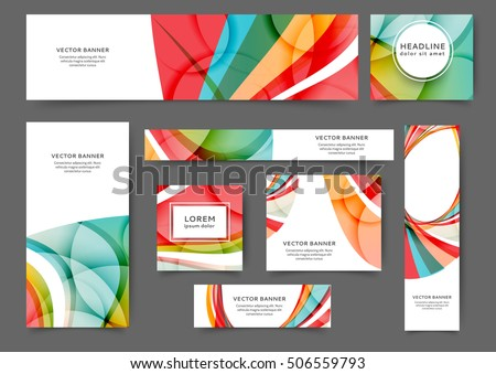 Set Of Web Banner Templates For Your Site Or Blog With Abstract Lines And  Waves.