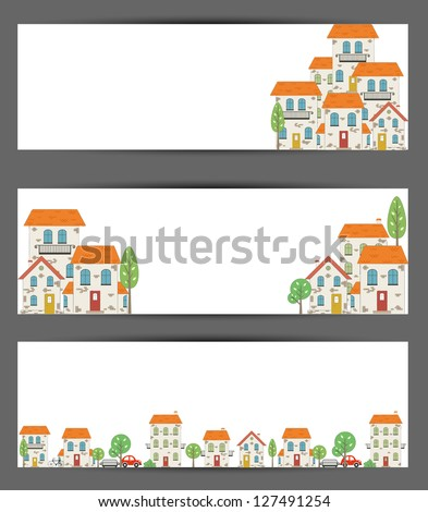 Set of web banners. City theme. Vector - stock vector
