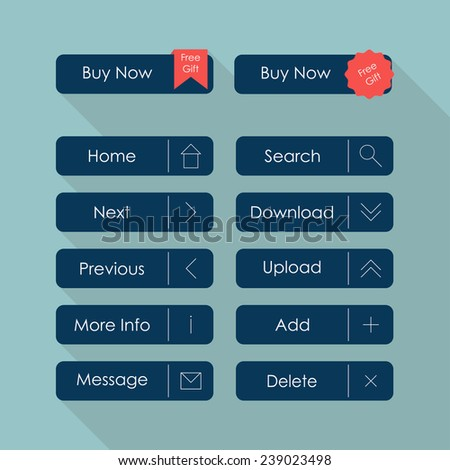 Set of web buttons. Buy now buttons template. Flat design. Vector illustration - stock vector
