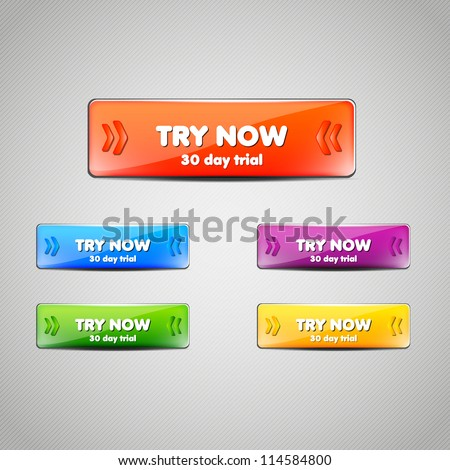 Set of Web buttons for website or app. Vector eps10. - stock vector