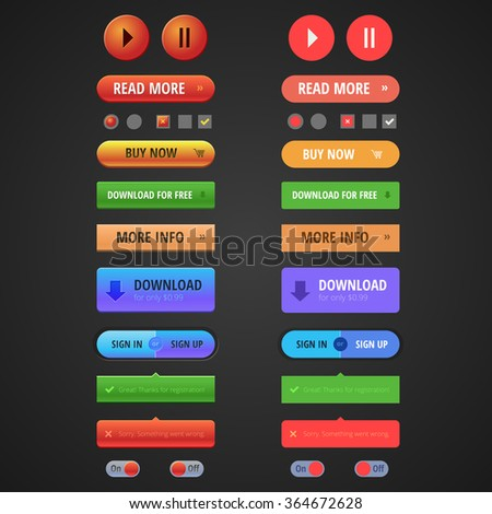 Set of web buttons in different style and colors. Ideal for websites, email templates, presentations and printing.