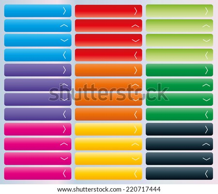 Set of web buttons with arrow in color combination with arrow - stock vector