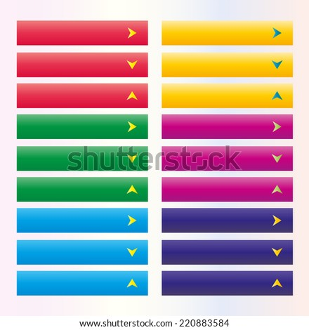 Set of web buttons with arrow in color combination with arrow