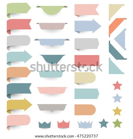 Set of web design elements - corners, banners, ribbons, stars,labels in pastel-retro colors. Vector collection