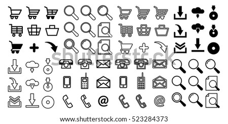 Set of 72 web icons. Baskets and carts for shopping, search, magnifying glass, loading, unloading, disk, cloud storage, mobile phone, smart phone, letters and e-mails. For desktop and mobile.