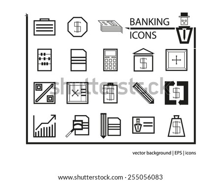 Set of web icons for business, finance, banking. Icons for web,  infographic. Geometric, contour icons. Square design style.